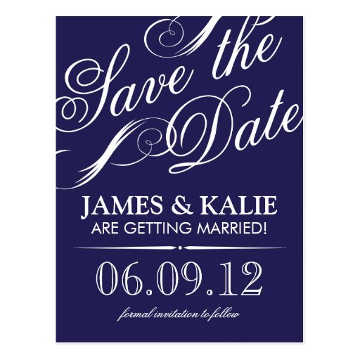 Navy Blue Vintage Script Save the Date Post Cards
