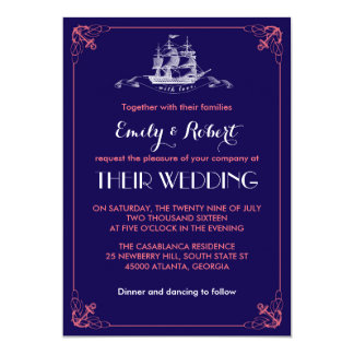 "Navy Blue Vintage Ship Anchor Wedding Invitation 5"" X 7"" Invitation Card"