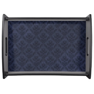 Navy Blue Vintage Wallpaper Serving Tray