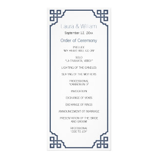 Navy Blue Vintage Wedding Program Full Color Rack Card