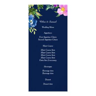 Navy Blue Violet Floral Wedding Menu Custom Rack Cards
