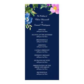 Navy Blue Violet Wedding Program Customized Rack Card