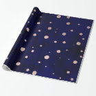 Navy blue watercolor chic rose gold polka dots wrapping paper