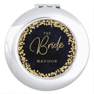 Navy Blue Watercolor & Gold Confetti Wedding Bride Vanity Mirrors
