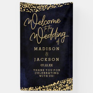 Navy Blue Watercolor Gold Confetti Wedding Welcome Banner
