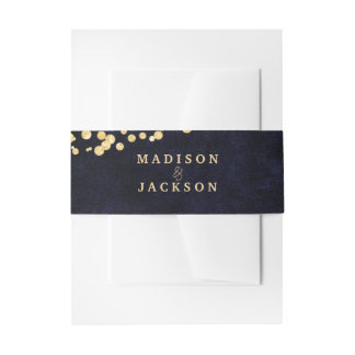 Navy Blue Watercolor & Gold Glam Wedding Monogram Invitation Belly Band