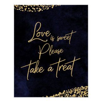 Navy Blue Watercolor & Gold Love is Sweet Treat Poster
