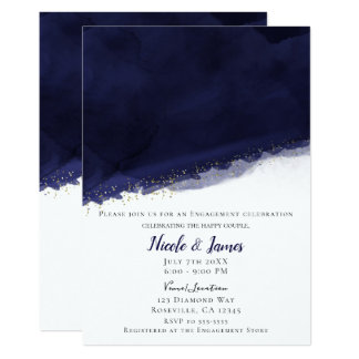 Navy Blue Watercolor & Gold Modern Chic Wedding Card