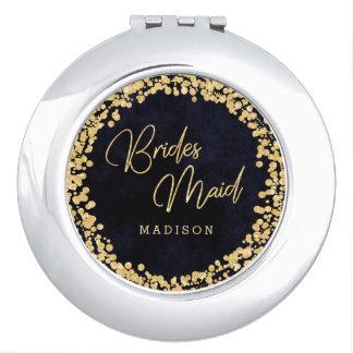 Navy Blue Watercolor & Gold Wedding Bridesmaid Travel Mirror