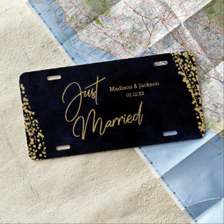Navy Blue Watercolor & Gold Wedding Just Married License Plate