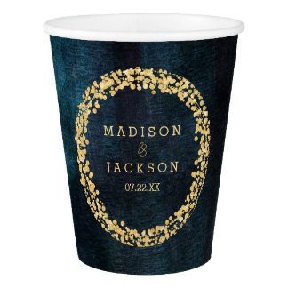 Navy Blue Watercolor & Gold Wedding Monogram Paper Cup