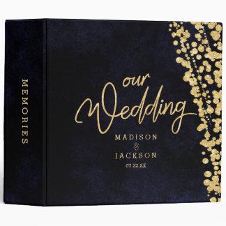 Navy Blue Watercolor & Gold Wedding Photo Album Vinyl Binder