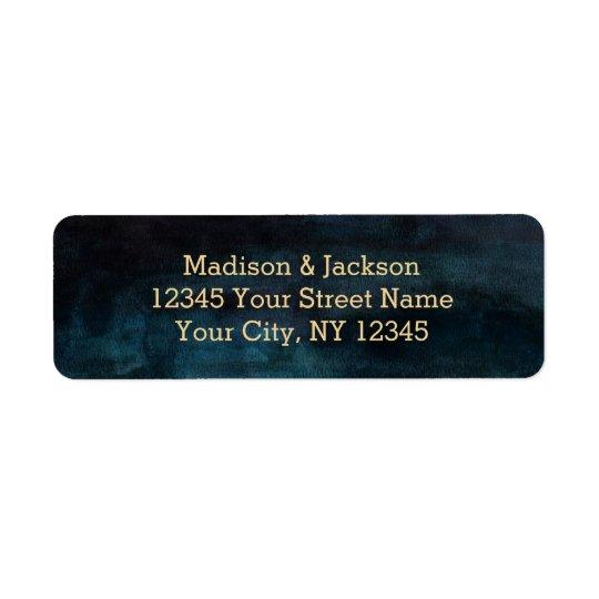 Navy Blue Watercolor & Gold Wedding Return Address Return Address Label