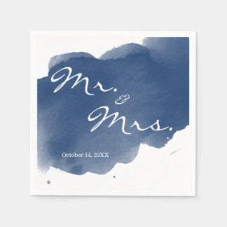 Navy Blue Watercolor Mr Mrs Cocktail Party Napkin Paper Napkins