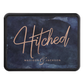 Navy Blue Watercolor & Rose Gold Wedding Hitched Trailer Hitch Cover