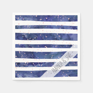 Navy blue watercolor stripes blush pink splatters paper napkin