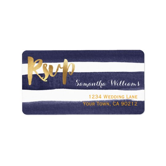 Navy Blue Watercolor Stripes Gold Wedding RSVP Label