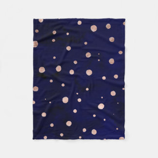 Navy blue watercolor trendy rose gold polka dots fleece blanket