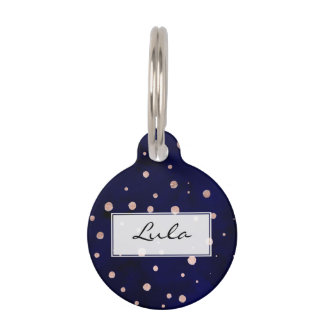 Navy blue watercolor trendy rose gold polka dots pet ID tag