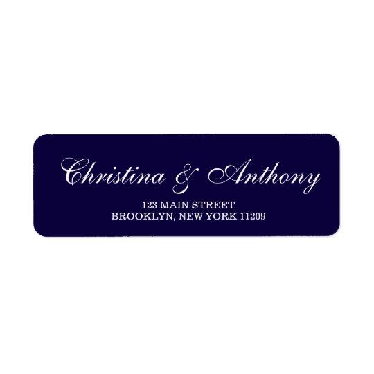 Navy Blue Wedding Monogram Return Address Labels