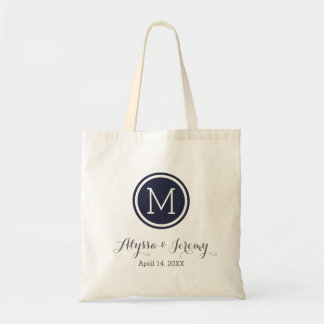 Navy Blue Wedding Monogram Welcome Favor Tote Bags