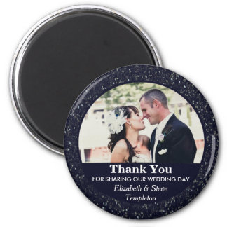 Navy Blue Wedding Photo Thank You Magnet
