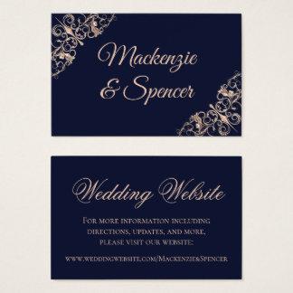 Navy Blue Wedding | Rose Gold Art Deco | Website Business Card