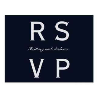 Navy Blue Wedding RSVP Postcard