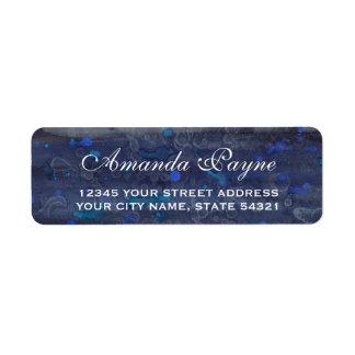 Navy Blue Wedding Watercolor Return Address