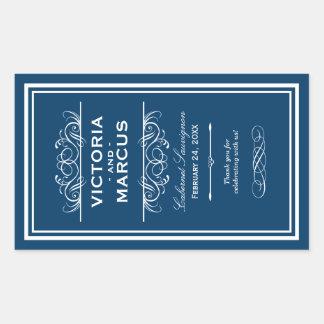 Navy Blue Wedding Wine Bottle Monogram Favor Sticker