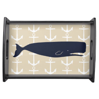 Navy Blue Whale & White Anchors Nautical Serving Tray