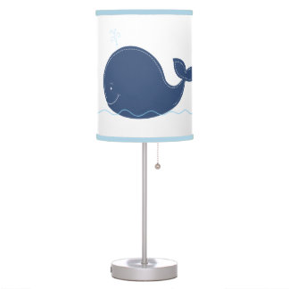 Navy Blue Whale White with Blue Trim Lamp