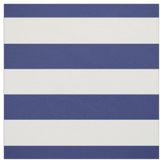 "Navy Blue & White 1.5"" Horizontal Stripes Pattern Fabric"
