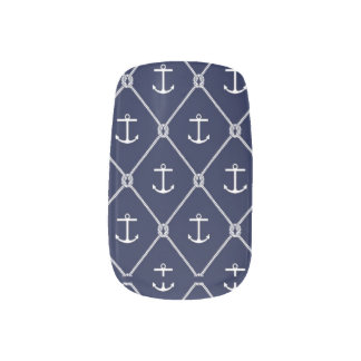 Navy Blue & White Anchor Nail Art