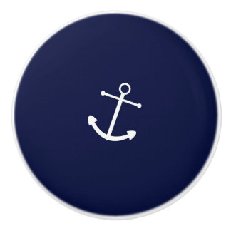 Navy Blue & White Anchor Nautical Dresser Cabinet Ceramic Knob