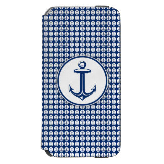 Navy Blue White Anchor on Anchor Pattern Incipio Watson™ iPhone 6 Wallet Case