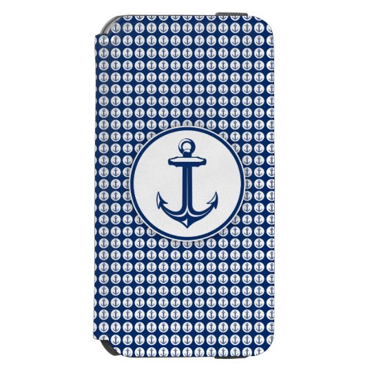 Navy Blue White Anchor on Anchor Pattern Incipio Watson™ iPhone 6 Wallet Case
