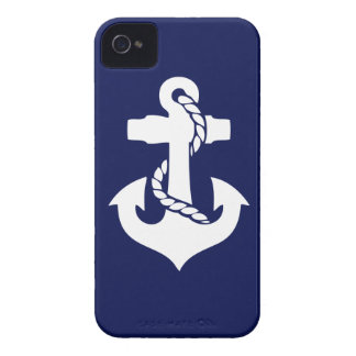 Navy Blue White Anchor Phone Case