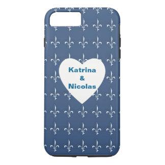 Navy Blue White Anchors Heart Pattern Monogram iPhone 7 Plus Case