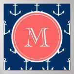 Navy Blue White Anchors Pattern, Coral Monogram