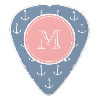 Navy Blue White Anchors Pattern, Coral Monogram 2 White Delrin Guitar Pick