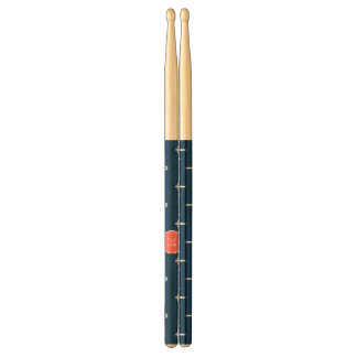 Navy Blue White Anchors Pattern, Coral Monogram Drumsticks