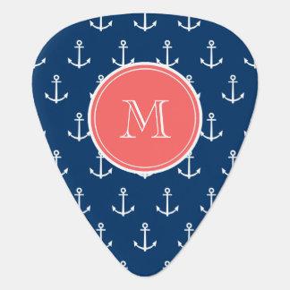 Navy Blue White Anchors Pattern, Coral Monogram Guitar Pick