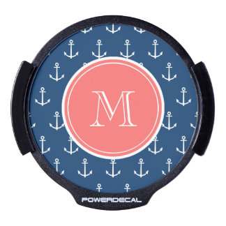 Navy Blue White Anchors Pattern, Coral Monogram LED Window Decal