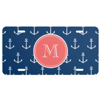 Navy Blue White Anchors Pattern Coral Monogram License Plate