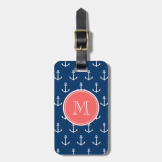 Navy Blue White Anchors Pattern, Coral Monogram Luggage Tag