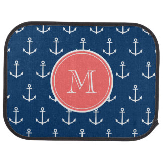 Navy Blue White Anchors Pattern, Coral Monogram Car Carpet