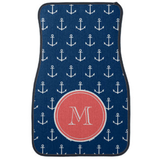 Navy Blue White Anchors Pattern, Coral Monogram Floor Mat
