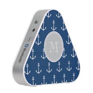 Navy Blue White Anchors Pattern, Gray Monogram Blueooth Speaker