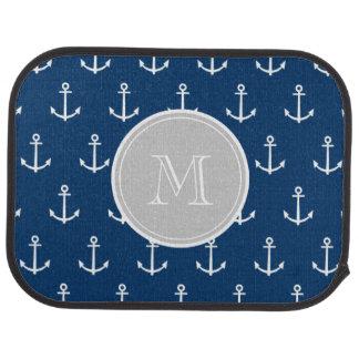 Navy Blue White Anchors Pattern, Gray Monogram Car Floor Carpet